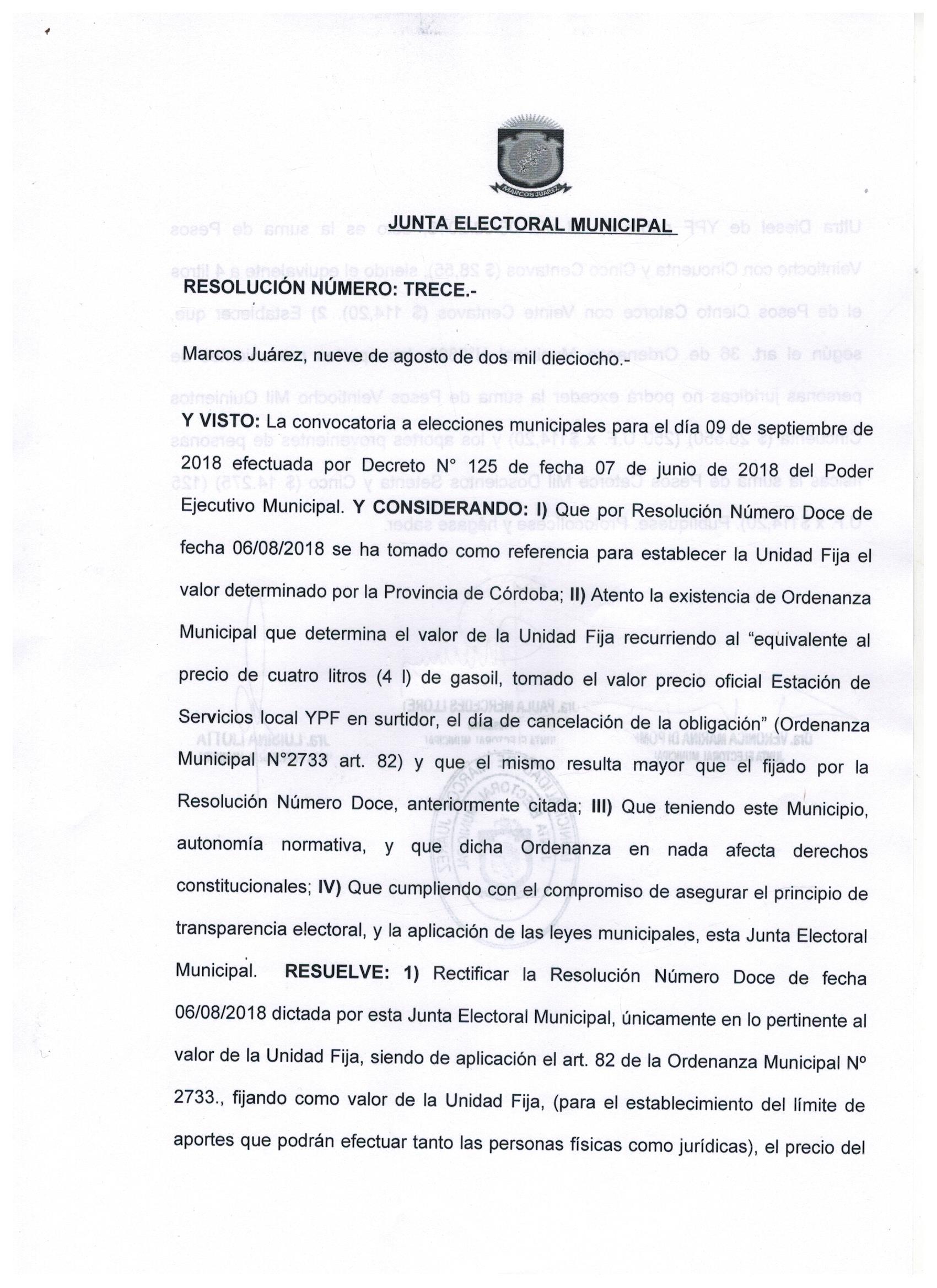 Elecciones Municipales Marcos Juárez 2018